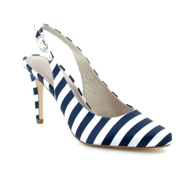 Tamaris Jolie 29614-30-865 White Navy high-heeled shoes