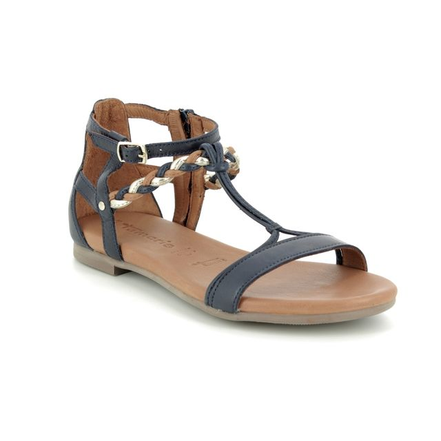 ee9bf0620960 Tamaris Kim 28043-22-890 Navy leather Gladiator Sandals