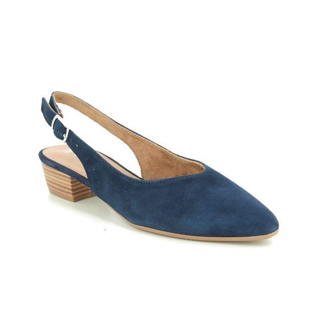 Tamaris Slingback Shoes - Navy Suede - 29405/24/805 KOSY