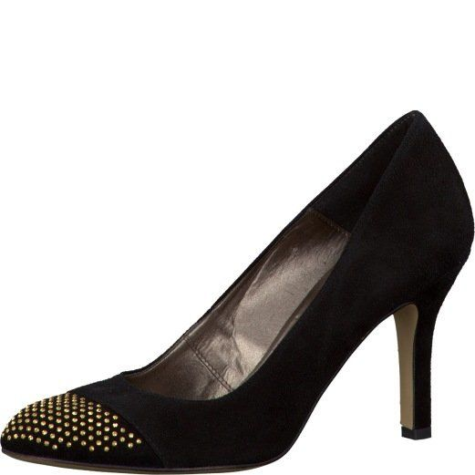 Tamaris Lisa 22481-001 Black suede heeled shoes