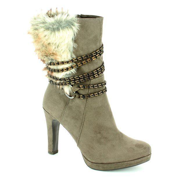 Tamaris Lycorfur 25314-314 Dark taupe ankle boots