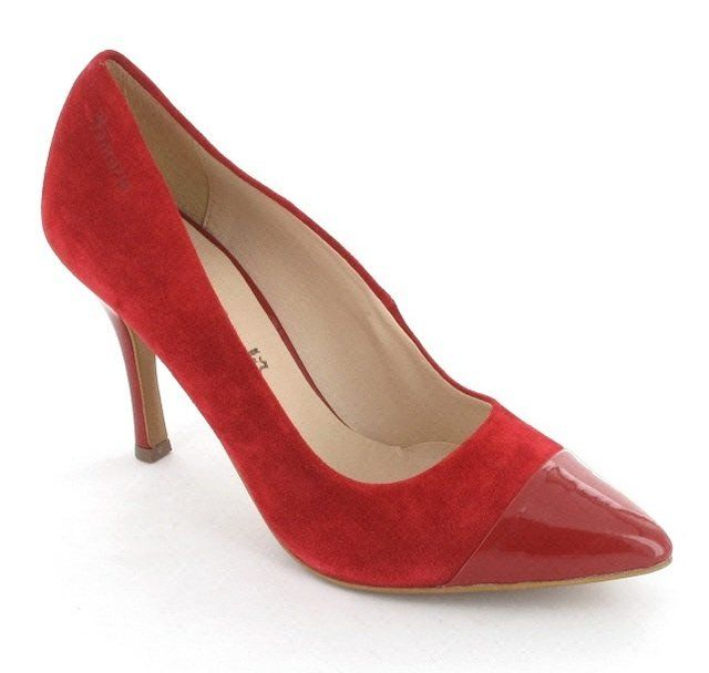 Tamaris Stacy 22427-533 Red patent and suede high-heeled shoes
