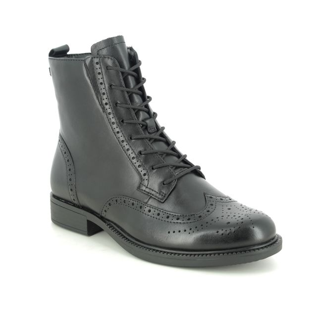 Tamaris Lace Up Boots - Black leather - 25106/25/001 SUZAN BROGUE