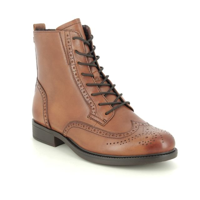 Tamaris Lace Up Boots - Tan Leather - 25106/25/305 SUZAN BROGUE