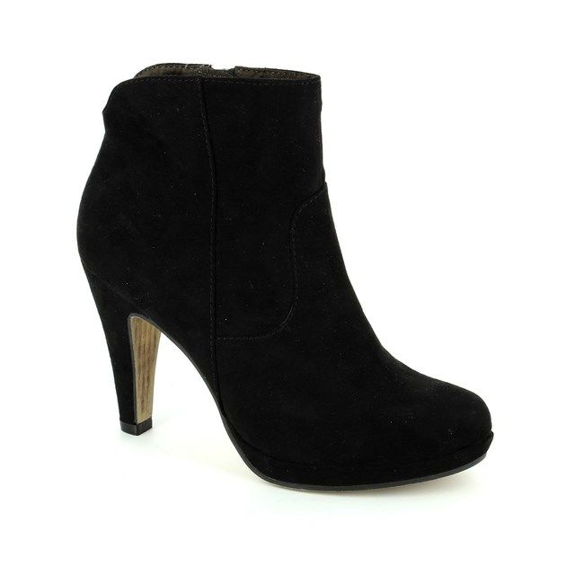 Tamaris Taggiap 25348-001 Black suede or snake ankle boots