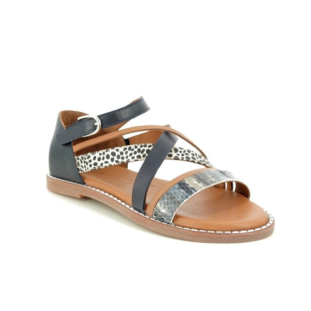 Tamaris Flat Sandals - Navy leather - 28162/24/893 TOFFYSTRAP