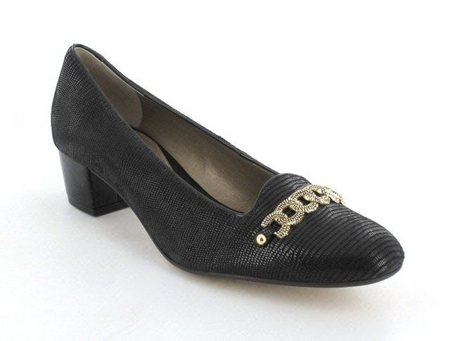 Van Dal Alexandra 2202-140D D Fit Black suede patent combi heeled shoes