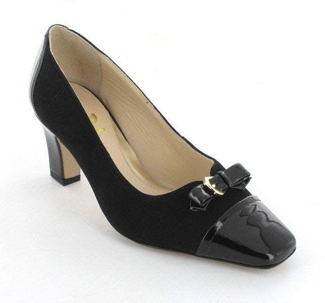Van Dal Surlingham 2194-110F F Fit Black patent/suede heeled shoes