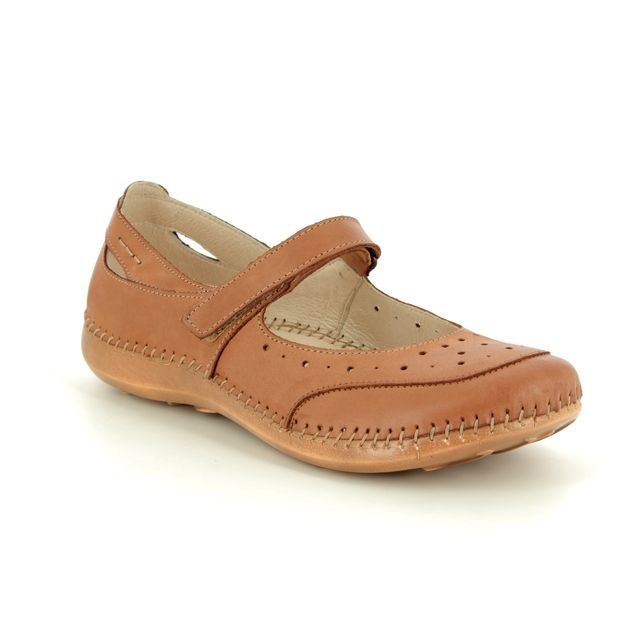 Walk in the City Mary Jane Shoes - Tan Leather  - 7105/20981 DAISBAR WIDE FIT
