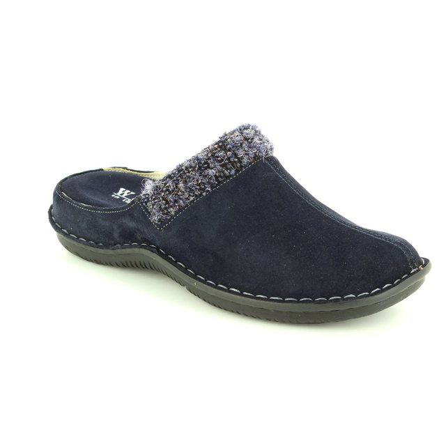 Walk in the City Lagos 4988-31971 Navy suede slipper mules