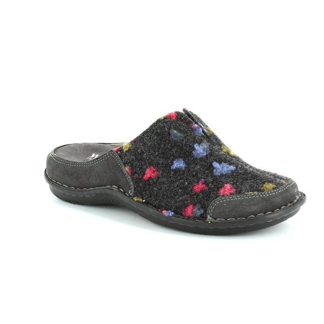 Walk in the City Lagoto 4988-32010 Dark grey multi slipper mules