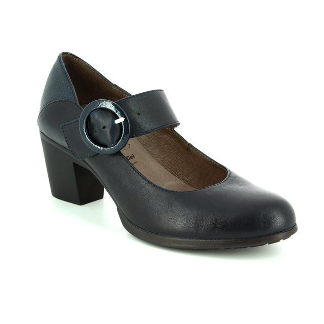 Wonders G4701-70 Navy patent heeled shoes
