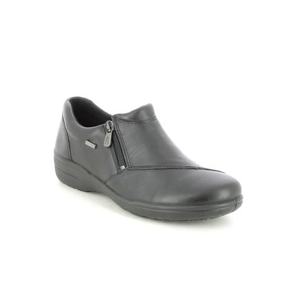Alpina Comfort Slip On Shoes - Black leather - 0F08/3 ANN ZIP H FIT
