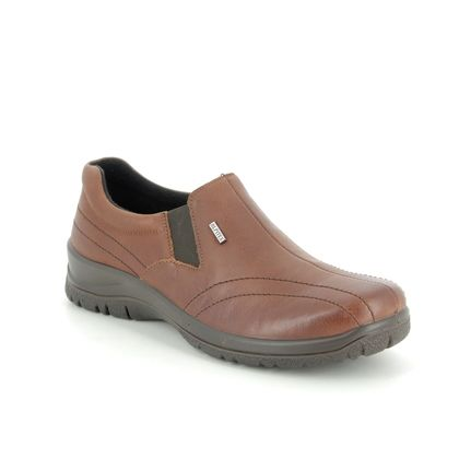 Alpina Comfort Slip On Shoes - Tan Leather  - 4257/3 EIKELEA TEX