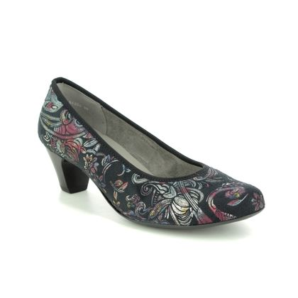 Ara Court Shoes - Black floral - 54220/88 AUCKLAND G FIT