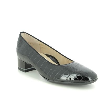 Ara Court Shoes - Black croc - 11838/26 GRAZ WIDE LEATHER