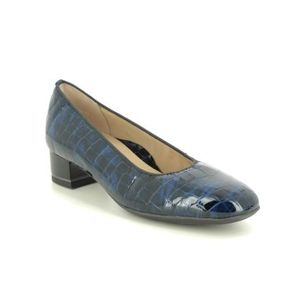 Ara Court Shoes - Navy croc - 11838/63 GRAZ WIDE LEATHER