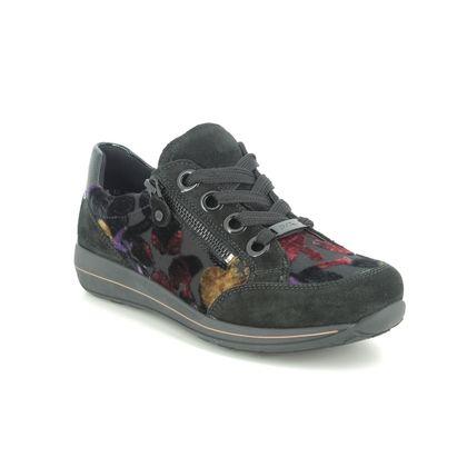 Ara Comfort Lacing Shoes - Black floral - 34587/29 OSAKA WIDE FIT