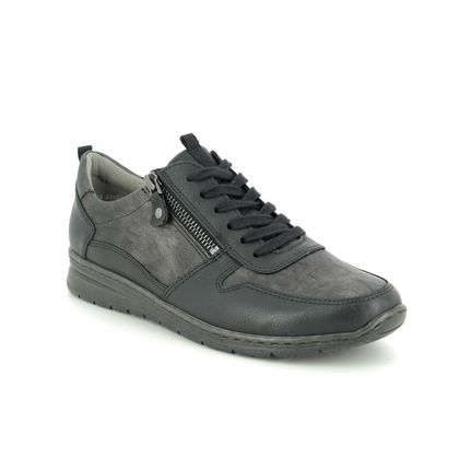 Ara Comfort Lacing Shoes - Black grey - 62422/11 SAPPORO WIDE FIT