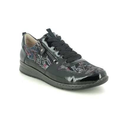 Ara Comfort Lacing Shoes - Black floral - 62422/70 SAPPORO WIDE