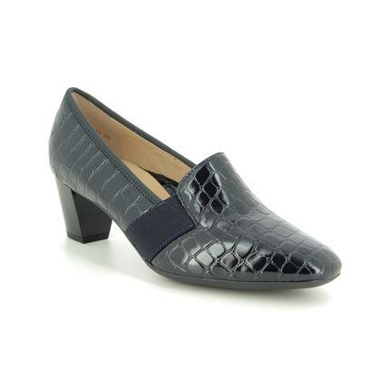 Ara Court Shoes - Navy croc - 18004/09 Verona Wide Fit