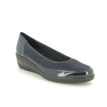 Ara Comfort Slip On Shoes - Navy patent-suede - 40617/16 ZURICH WIDE FIT