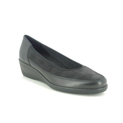 Ara Comfort Slip On Shoes - Black leather - 40617/18 ZURICH WIDE FIT