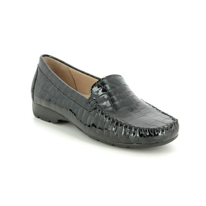 Begg Shoes Loafers and Moccasins - Black croc - 40539/33 SUNDAY WIDE FIT