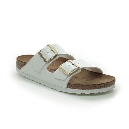 Birkenstock Slide Sandals - White patent - 1005294 ARIZONA LADIES