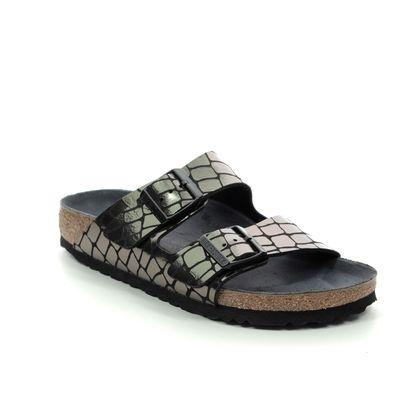 Birkenstock Slide Sandals - Black croc - 1016045 ARIZONA LADIES