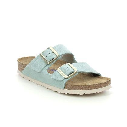 Birkenstock Slide Sandals - Blue Suede - 1016393 ARIZONA LADIES