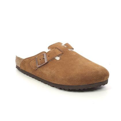Birkenstock Slippers & Mules - Tan suede - 1001140/13 BOSTON FUR SHEEPSKIN