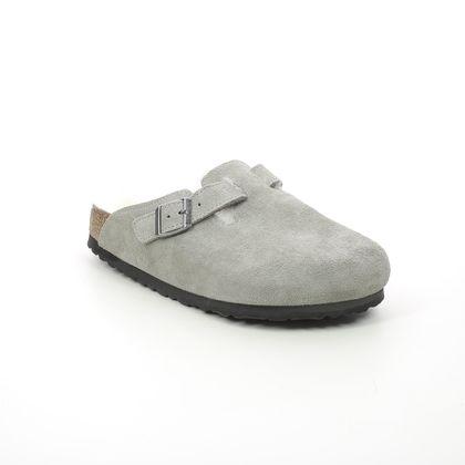 Birkenstock Slippers - LIGHT GREY SUEDE - 1017651/03 BOSTON FUR SHEEPSKIN