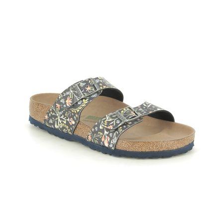 Birkenstock Slide Sandals - Navy Floral - 1018471/99 SYDNEY VEGAN