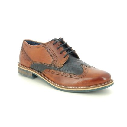 Bugatti Brogues - TAN NAVY  - 31285402/6341 BASILIO WIDE