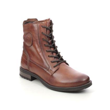 Bugatti Lace Up Boots - Tan Leather  - 4115693P/6383 RONJA  CROC ZIP