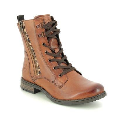 Bugatti Lace Up Boots - Tan Leather - 4115693O/6382 RONJA  ZIP