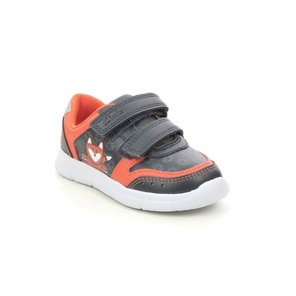 Clarks Boys Trainers - Navy Leather - 638956F ATH DOT T