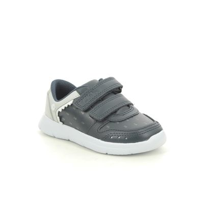 Clarks Boys Trainers - Navy Leather - 566086F ATH SCALE T