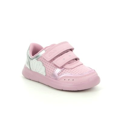 Clarks Girls Trainers - Pink Leather - 588096F ATH SHELL T