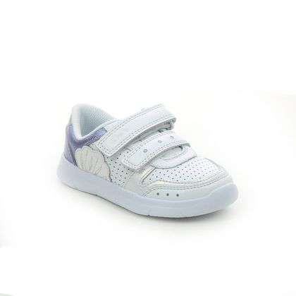 Clarks Girls Trainers - WHITE LEATHER - 588106F ATH SHELL T