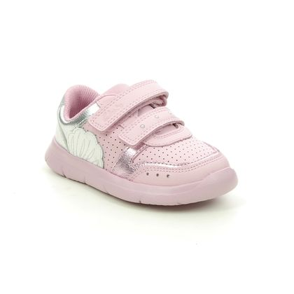 Clarks Girls Trainers - Pink Leather - 588097G ATH SHELL T