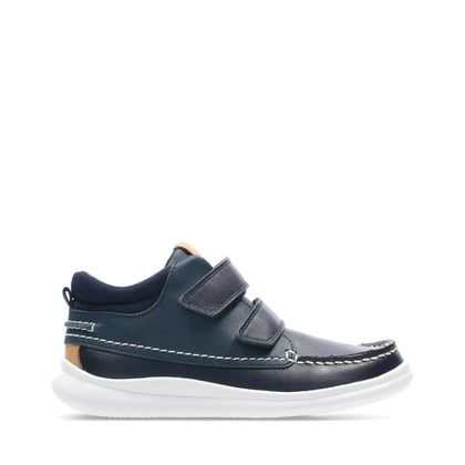 Clarks Boys Boots - Navy Leather - 448167G CLOUD TUKTU K
