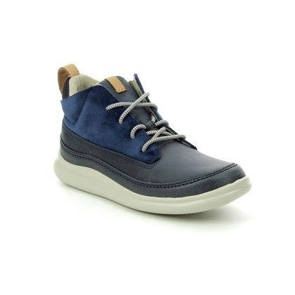 Clarks Boys Shoes - Navy Leather - 2702/06F CLOUDY AIR INF