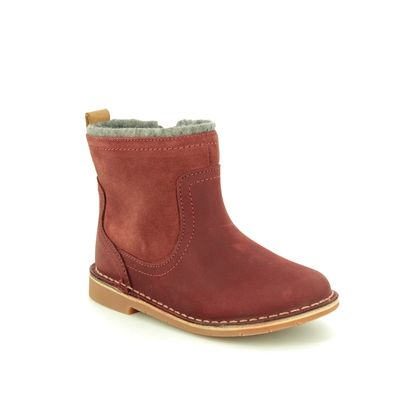Clarks Infant Girls Boots - Red leather - 438546F COMET FROST T