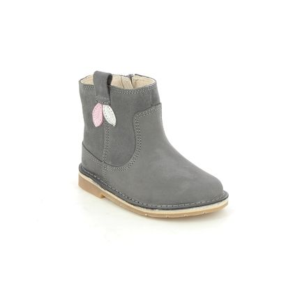 Clarks Infant Girls Boots - Grey leather - 619426F COMET STYLE T