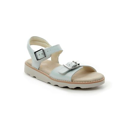 Clarks Girls Sandals - WHITE LEATHER - 412636F CROWN BLOOM K
