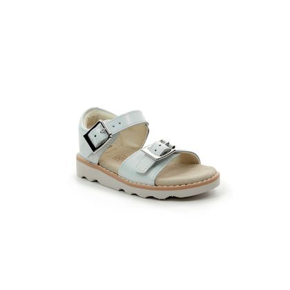 Clarks Girls Sandals - WHITE LEATHER - 411226F CROWN BLOOM T