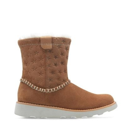 Clarks Girls Boots - Tan Suede - 438497G CROWN PIPER K