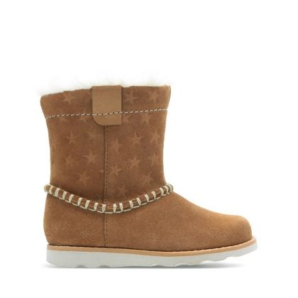 Clarks Infant Girls Boots - Tan Suede - 438726F CROWN PIPER T